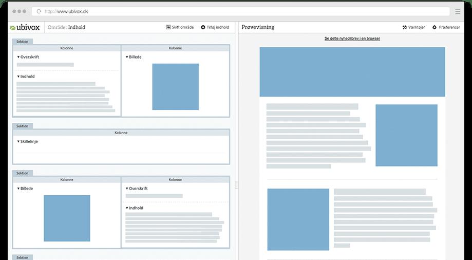 Fleksibel editor der giver et struktureret og visuelt overblik på samme tid. Understøttelse af HTML, plain text, responsive emails m.m.